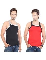 Bodysense Black & Red Men's Gym Vest ( Pack Of 2 )