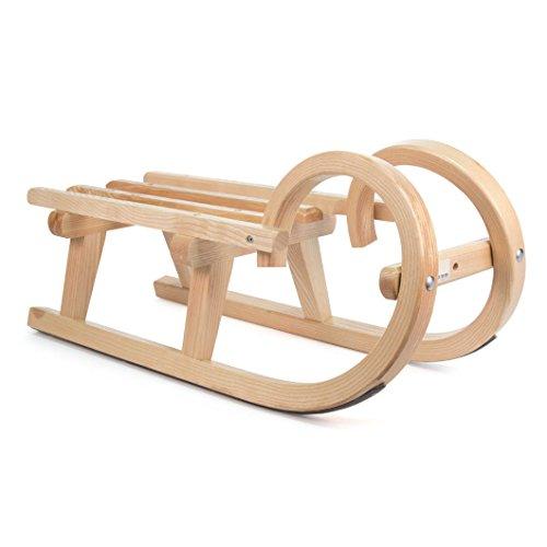 DREGENO Hörner-Schlitten aus Holz, Geschenk für Kinder bis 1 m, von DREGENO SEIFFEN 60 cm - Original erzgebirgische Handarbeit