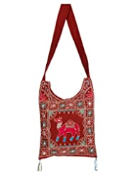 Rajrang Elegant Cotton Embroidered Camel Maroon Sling Bag - B015PUR5XE