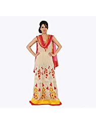 Nirali Women's Georgette Salwar Kameez SemiStiched Dress Material - Free Size (Red And Beige)