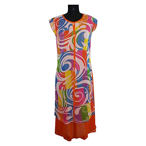 ADS Womens Digital Print Orange Kurti/Tunic