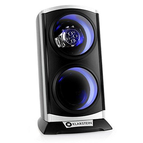 Klarstein St.Gallen Premium - Remontoir automatique ultra-silencieux pour 2 montres (4 programmes, rétro-éclairage bleu) - noir