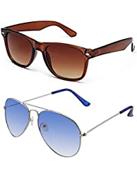 SHEOMY COMBO OF STYLISH SILVER BLUE AVIATOR GOGGLES AND BROWN WAYFARER SUNGLASSES WITH 2 BOX - Free Delivery