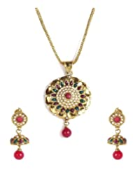 Shining Diva Floral Ethnic Jhumki Pendant Necklace Set For Women
