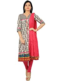 Rama Suit Set Of Emblished Paisly Print Black White Color Cotton Anarkali Kurti With Legging And Duppatta