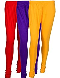 Fashion And Freedom Women's Cotton Leggings Pack Of 3_FFCL_RVY_RED-VIOLET-YELLOW_FREESIZE