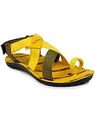 11e Olive Yellow Floater Sandal For Men