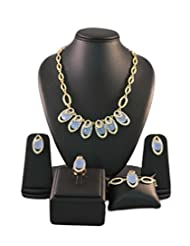 Blue Crystals Contemporary Golden Color Jewellery Set
