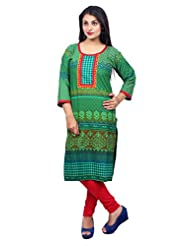 Desi Aura Straight Fit Long Fancy Cotton Printed Kurtis For Fashionable Women(Pack Of 1) - B017F8S7G8