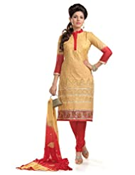 Ethnic For You Beige & Red Cotton Embroidered Dress Material - B017850JRS
