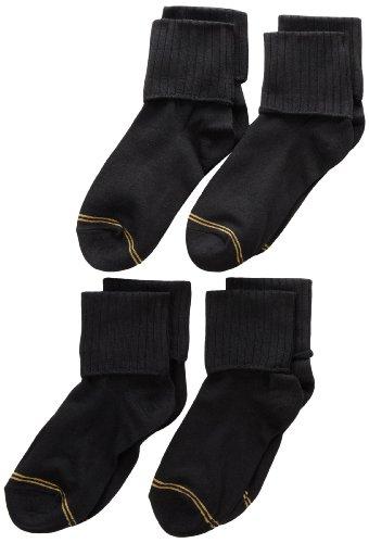 Gold Toe Big Girls'  4 Pack Turn Cuff Sock, Black, Medium