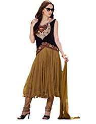Suchi Fashion Brown And Black Heavy Embroidery Net And Velvet Anarkali Suit