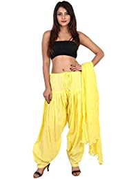 GAURANGI New Women's Yellow Plain Cotton Patiala Salwar With Dupatta Set- Free Size