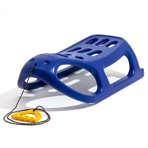 Extra Massiver Schlitten Kinderschlitten Racer Kunststoff Bob mit Zugseil Blau