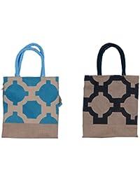 ABV Lunch Bag, Jute Bag, Multipurpose Bag, Gift Bag-Pack Of 2 Bag Medium Size Blue And Black Color