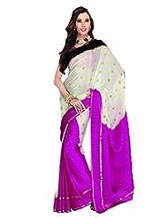 Cream & Pink Crepe Silk Weaved Saree In Pink & Gold Weaved Pallu-SR6108