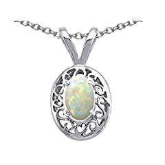 Tommaso Design 7x5mm Oval Genuine Opal Pendant in 14 kt White Gold