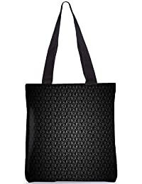 Snoogg Black Floral Pattern Fashion Printed Shopping Shoulder Lunch Tote Bag For Women