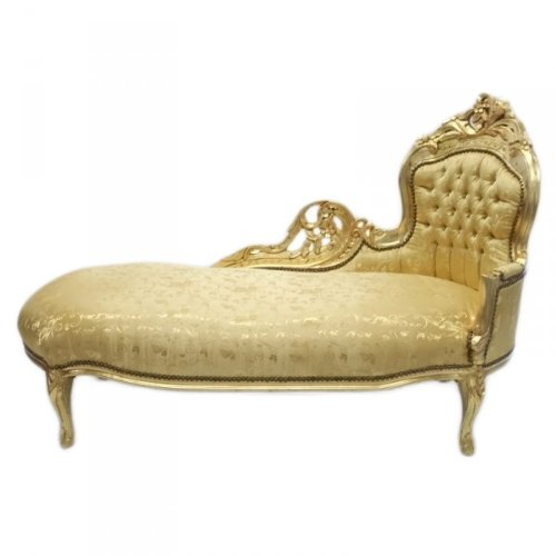 Casa Padrino Barock Chaiselongue 'King' Gold Muster / Gold - Möbel Antik Stil
