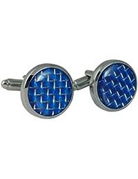 Ammvi Creations Executive Electric Blue Circular Cufflinks For Men