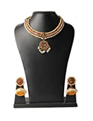 FashionAtelier One Gram Gold Plated Necklace And Earring With Pearl