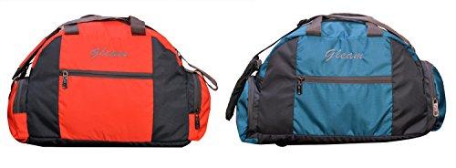 GLEAM GYM / SPORTS / TRAVELLING Bag Blue & Orange Set Of 2 (with Shoe Pocket)