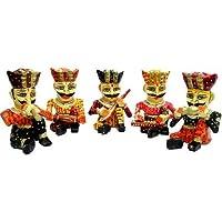 JaipurCrafts Rajasthani Musician Set Of 5 Showpiece - 10.16 Cm (Wood, Multicolor)