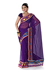 Designersareez Women Chiffon Embroidered Purple Saree With Unstitched Blouse(1403)