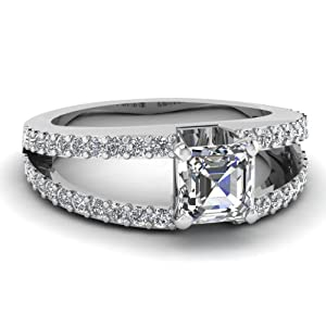 1 Ct Asscher Cut Diamond Cleaved Band Engagement Ring Pave Set VS1 GIA Certificate # 2151412196