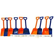 Small 7 Inch Toy Plastic Shovels Mix Blue & Orange, 12 Pack, 12 I Dig You Stickers