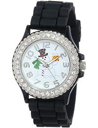 Geneva Women's 5573_xmasblacksnowman Holiday Boyfriend White Dial With Snowman And Crystals Watch