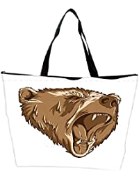 Snoogg Vector Grizzly Bear Waterproof Bag Made Of High Strength Nylon