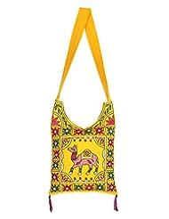 Rajrang Handmade Designs Camel Printed Cotton Embroidered Work Yellow Sling Bag
