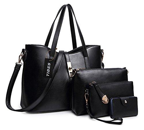 Tibes PU cuir sac a main + epaule de sac de femmes de la mode + porte-monnaie + carte 4pcs mis Noir