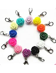 1 HOT PINK Colored Flower Zipper Charm With Lobster Clasp, Embellish Your Purse, DIY Arts & Craft Charm, Pendant...