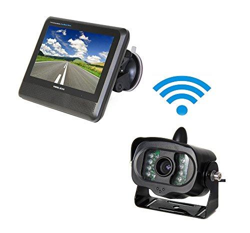 Camecho® 2.4 GHZ 7″ 7inch TFT LCD Rear view Monitor + Truck Rear View Wireless IR Night Vision Backup Camera Kit 1/3 CMOS for Truck / Van / Caravan / Trailer / Camper PAL&NTSC High Solution 420 TVL