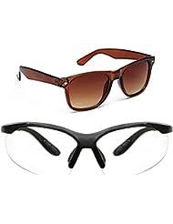 New Stylish UV Protected Combo Pack Of Sunglasses For Women / Girl ( BrownWayfarer-ClearNightVision ) ( CM-SUN...