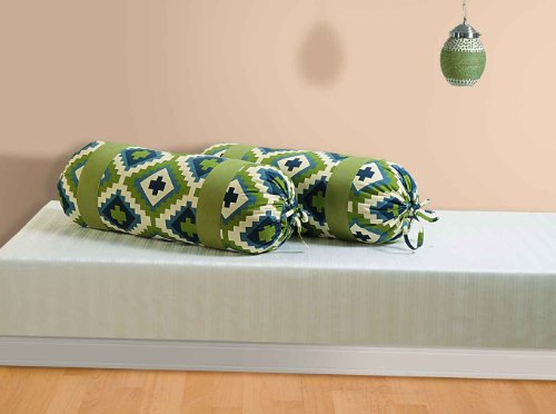 Swayam Drape And Dream Printed Cotton 2 Piece Bolster Cover Set - Green (BCP02-1408 )