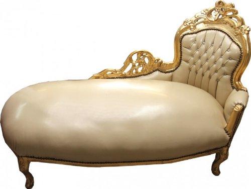Casa Padrino Barock Chaiselongue Creme/Gold Lederoptik mit Bling Bling Glitzersteinen - Recamiere Liege Lounge