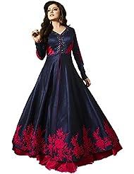 Royal Export Women's Bangalori Blue And Red Anarkali Semi-Stitched Salwar Suit