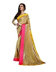 Beige Party Wear Saree Indian Sequins Border Work Satin Sari