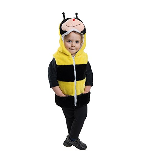 Bumble Bee Costume For Toddlers - Halloween Garb - Yellow Black Vest With Hood