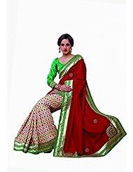 Sareez Off White & Red Color Manipuri Silk With Cotton Saree.
