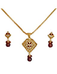 Divaz Bridal Red, White And Gold Color Necklace Set With Earring For Women