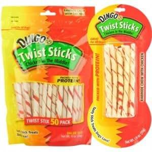 Amazon.com : Dingo Twist Sticks Rawhide Chew with Chicken
