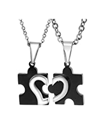 Lovers Heart Joining Two Piece Couple Pendant Pair For Girls And Boys By YELLOW CHIMES