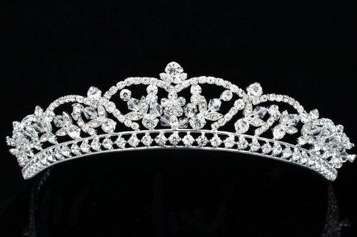 Rhinestone Crystal Beads Flower Prom Bridal Wedding Tiara Crown
