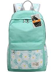 Leaper Casual Daisies Lightweight Canvas Laptop Bag/Shoulder Bag/School Backpack (Water Blue)