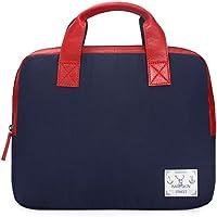 "Bareskin Unisex Blue Denier And Red Color 100% Genuine Leather Trimmed Laptop Bag/Suitable For 13 ""and Below Laptop..."