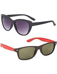 New Stylish UV Protected Combo Pack Of Sunglasses For Women / Girl ( BlackCateye-RedWayfarer ) ( CM-SUN-020 )